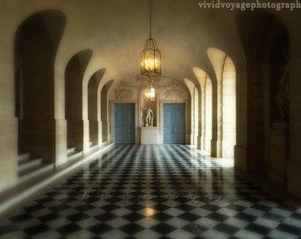 Architecture Print, Versailles Photo, Cream Home Decor, Dreamy Photograph, French Blue Decor, Interior Design Photo, Marble Hall Photo