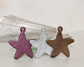 Star Shape Leather Necklace Pendant, Starfish  Charm,Metallic Silver Leather