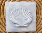 Scallop Shell Relief Ceramic Tile -- Handmade 4x4 Ceramic tile, SeaShore series, MADE TO ORDER