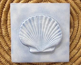 Scallop Shell Relief Ceramic Tile -- Handmade 4x4 Ceramic tile, SeaShore series, MADE TO ORDER