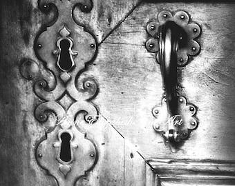 Door Photography,Black & White,Keyhole Art,Romantic Art,Paris Photograph, Parisian, Fashion Photography,Shabby Chic, Luxary,Bathroom Art,