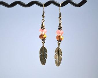 Long Bronze Feather Quartz Earrings
