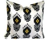 Nate Berkus Black and Gold Ikat Decorative Pillow Cover, 18x18, 20x20, 22x22 or lumbar pillow, Accent Pillow, Throw Pillows,