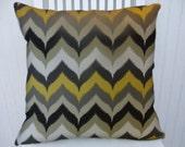 Grey, Black, Yellow Zig Zig Pillow Cover--Chevron Decorative Pillow Cover 18x18 or 20x20 or 22x22-Throw Pillow- Zig Zag Accent Pillow