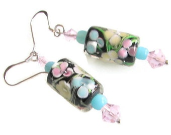 Flowered Lamp work Earrings, Pink Yellow and Blue Barrel Bead Earrings on Sterling Silver, Flowery Jewelry, Mother's Day Gift, Gift under 20