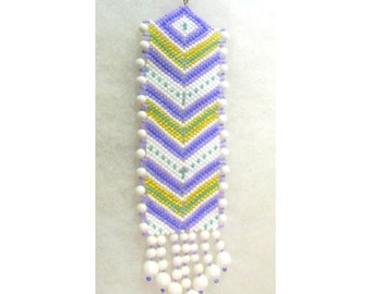 Bead Sun Catcher - Purple and White Chevron- Glass  Seed Beads - OOAK 1330