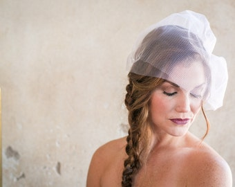 Double Layer Birdcage Veil - Ivory tulle, Fishnet, Russian Netting, wedding veil, bridal