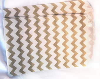 MeDiUM SiZe Chevron PaPER BAGs-- Metallic Gold --party favors--gifts-20ct