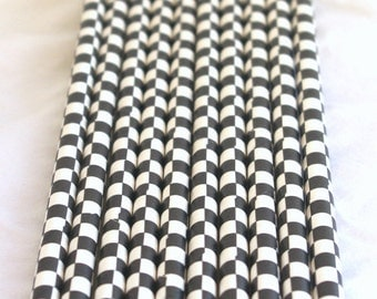 Black Checkerboard Paper Straws----Parties---25ct with Free Printable diy Flags