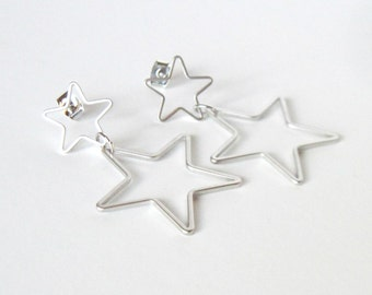 Sale, Silver Star Earrings, Celestial Jewelry, Gift for Her, Post Dangle Earrings, Whimsical Jewelry