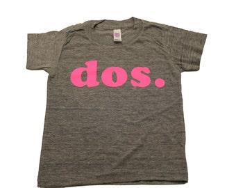 dos birthday shirt, kids birthday shirt, second birthday shirt, neon pink birthday shirt