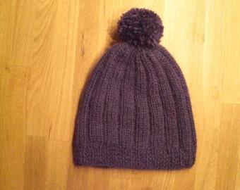Icelandic slouchy hat/beanie pom pom, purple hat/beanie, wool hat/beanie, handknitted hat/beanie, ready to ship