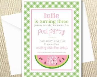 Watermelon Summer Birthday Party Digital Invitations- Buffalo check