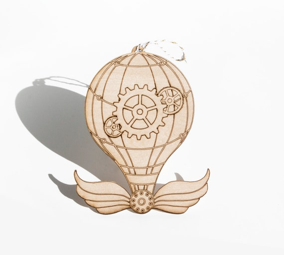 Laser Cut Plywood Ornament - Steampunk Balloon