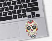 Small Mexican Sugar Skull Laptop Sticker Vinyl Bumper Sticker Laptop Mobile Decal Day of Dead Dia de los Muertos Decorative Flower Calavera