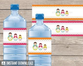 Matryoshka Party - Bottle Labels - Babushka Party - Russian Doll - INSTANT DOWNLOAD - Printable PDF