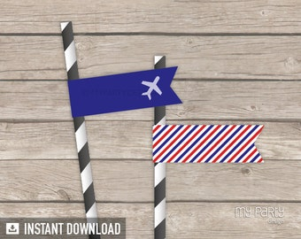 Travel Party / Farewell Party - Party Flags - Red and Blue Stripes - INSTANT DOWNLOAD - Printable PDF