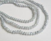 Smoky Silver Gray faceted glass rondelle beads 4x3mm full strand PEGLA-47-1