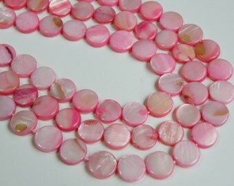 Mother of Pearl shell pink flat round coin beads 10mm full strand DB40974