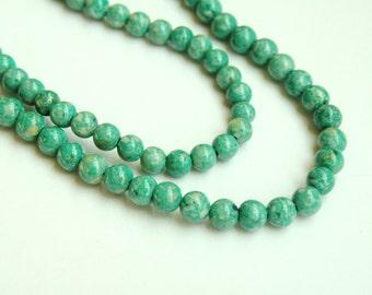 Riverstone beads in spring green round gemstone 4mm full strand 9436GS