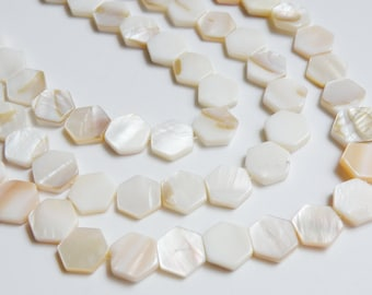 Mother of Pearl shell hexagon white ivory tan natural beads 13x12mm-14x13mm  full strand 6215CL