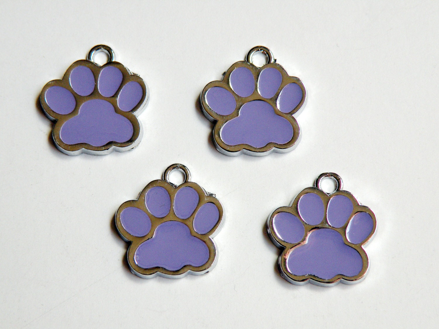 10 paw enamel charms in purple silver finish paw cat paw
