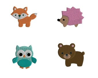 Mini Woodland Animals Machine Embroidery Design Set-INSTANT DOWNLOAD
