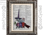 Nightmare Before Christmas Lock, Shock and Barrel on Vintage Upcycled Dictionary Art Print Book Art Print