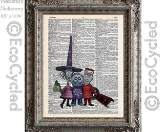 Nightmare Before Christmas Lock, Shock and Barrel on Vintage Upcycled Dictionary Art Print Book Art Print Book Lover Art Gift bookworm gift