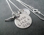 SWIM Like a GIRL Sterling Silver Swimmer Necklace with Initial Pendant - 16, 18 or 20 inch - Swim Coach - Swim Team - Swimmer - Swim Mom