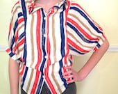 Cute Little 60s Top / Short Sleeve Cropped Blouse Shirt / Stripes / Rayon / Summer Tops / SMALL