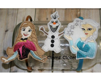Set of 3 frozen headband covers embroidery designs instant download