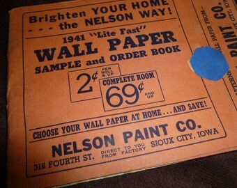 Wallpaper Samples Vintage Booklet 1941 Nelson Paint Co. Sioux City, Iowa Salesman Samples