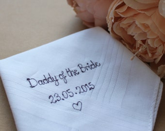 Daddy of the bride handkerchief hanky wedding favour