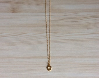 Gold Sun Charm Necklace