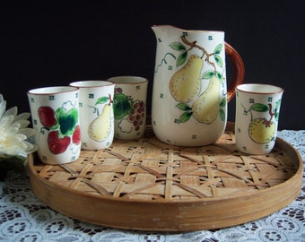 Ceramic Pitcher and Four Juice Tumblers - Ceramic Juice Set - Vintage Kitchen - Cottage Kitchen