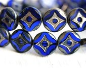 Coin beads, Czech picasso beads - Cobalt, Dark Blue beads - glass beads, table cut, round - 15mm - 4Pc - 0295