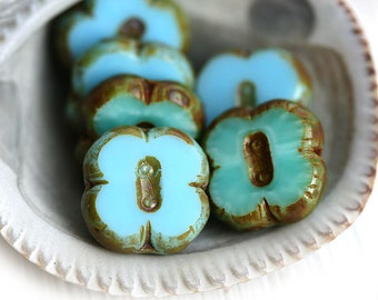 Picasso beads, Blue Green beads mix, Czech glass beads, Clover shape, flat square, table cut - 12mm - 6Pc - 1049