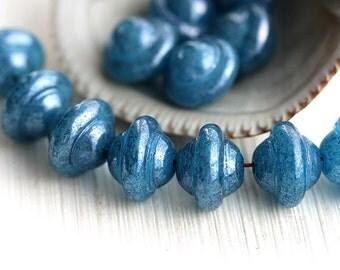 Blue Saucer beads, UFO shape - Montana Blue luster, Czech glass, 8x10mm, saturn, pressed beads - 12Pc - 0966