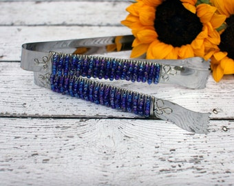 AB Blue Royal Beaded Appetizer Tong set/2 TABLE SETTING, dessert bar, candy, buffet, wedding, bridal, shower, gift, birthday,holiday,couture