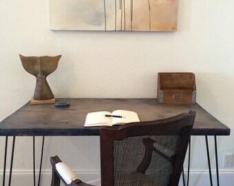 Industrial Gray Wood Desk - Vintage Reclaimed Wood Look