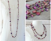 Purple Bead Necklace: Long Shell Boho Chic Jewelry with Antiqued Brass, Layering Style, Wire Wrapped