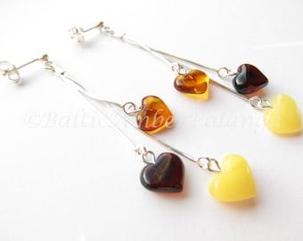 Baltic Amber Dangle Heart Earrings