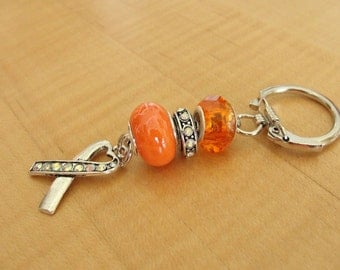 Orange Awareness Key Chain - DVT, Kidney cancer, Leukemia, Multiple Sclerosis, RSD, Skin Cancer and others
