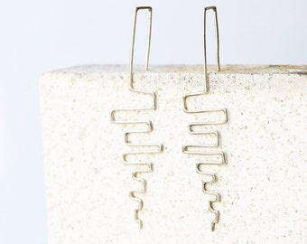 Line wire earrings - Sterling Silver - modern jewelry - minimalist earring