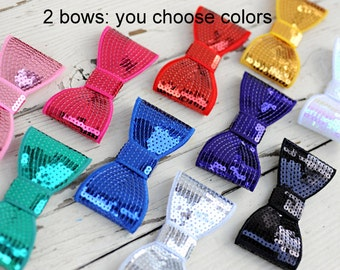 Extra Large Sequin Bows - 5 Inch Sequin Bows - Set of 2 - Choose Your Colors - 5 Inch Sequin Bows For Headbands - Giant Bows