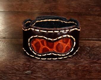 Medieval rustic leather cuff // gladiator // alligator // brown // tan // western // cowboy // crocodile // rocker // safari