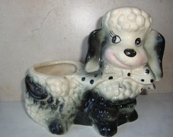 Vintage Ceramic Poodle Planter, Medium Mid Century