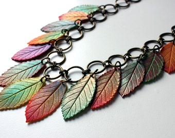 Polymer Clay Necklace Fall Leaves