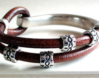 Brown Leather Bracelet Tribal Half Cuff